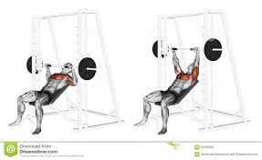 exercising incline smith machine bench press stock illustration