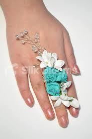 Turquoise Corsage Shop Pure White Stephanotis U0026 Turquoise Roses Crystals Wedding