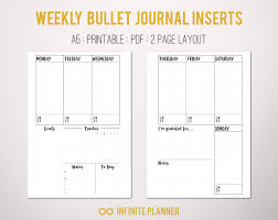 two page weekly planner template a5 weekly layout on 2 pages bullet journal printable zoom