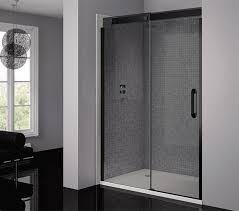 1200mm Shower Door April Prestige Frameless 1200mm Smoked Black Sliding Shower Door