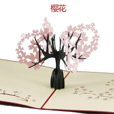 3d paper sculpture creative cards cherry greeting card