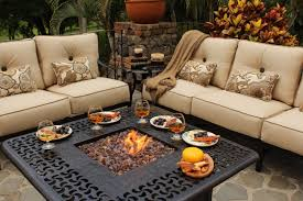 patio ideas propane fire pit coffee table with cream cushion