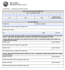 Bill Of Sale Vehicle by Free Indiana Vehicle Bmv Bill Of Sale 44237 Form Pdf Word