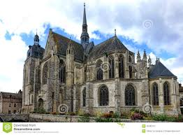 gothic style church in old french town in france stock photo
