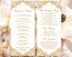 wedding anniversary program wedding ceremony program template vintage gold order of service