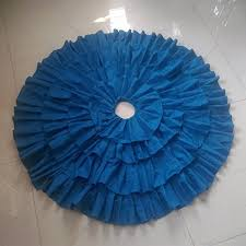 clearance sale teal blue cotton ruffled tree skirt