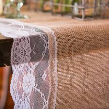 natural burlap table runner natural burlap table runner with lace edging wedding reception