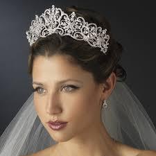 bridal tiara regal silver and clear rhinestone floral bridal tiara