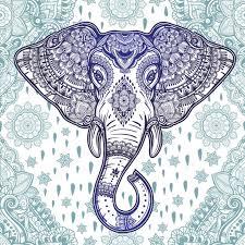 boho vector ethnic elephant seamless pattern stock vector