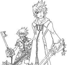 drawing of roxas and sora coloring page netart