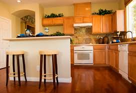 light wood cabinets with wood floors 12826