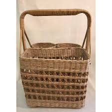 wine picnic basket vintage wicker wine picnic basket chairish