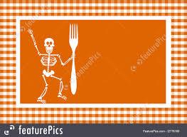 halloween orange background halloween skeleton frame illustration