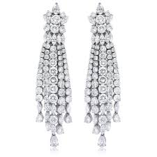 chandelier earings ct diamond 18k white gold chandelier earrings