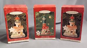 3 vtg hallmark lighthouse ornaments 2 1998 and one