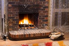 interior design of living room in a new house with fireplace stock