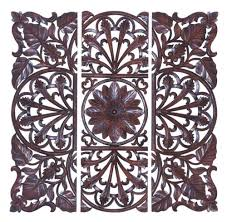 48x48 large brown carved wood wall panel jungle