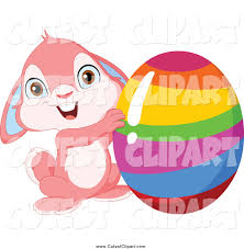 vector clip art of a cute pink easter bunny rabbit holding up a