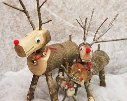 log reindeer wood reindeer family