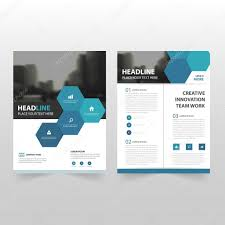 cover layout com blue hexagon vector annual report leaflet brochure flyer template