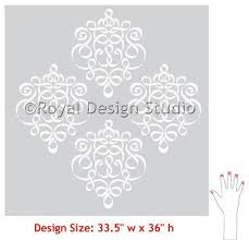 damask ribbon wall stencil small ribbon damask stencil royal design studio