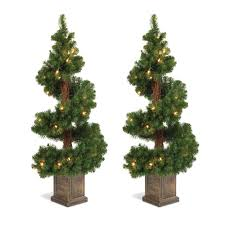 potted christmas tree 2 3 5 spiral potted pre lit artificial foyer trees american