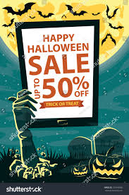 halloween web template zombie hand tablet your promotion halloween stock vector 331844996