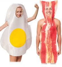 Halloween Bacon Costume Funny Couples Food Bacon Fried Egg Fancy Dress Costume