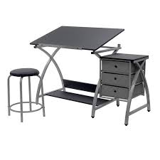 How To Build A Home Studio Desk by Amazon Com Studio Designs Comet Center With Stool Silver Black