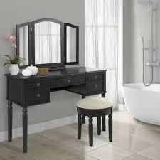 Mirrored Vanity With Drawers Bathroom Tri Mirror Vanity Table Set Black U2013 Best Choice Products
