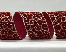 burgundy wired ribbon 2 5 inchwired ribbon christmas plaid ribbon green