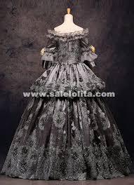 Marie Antoinette Halloween Costume Grade Vintage Gray Floral Marie Antoinette Renaissance Ball Gowns