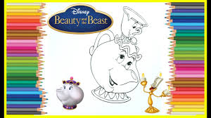 beauty and the beast mrs potts let u0027s color in learn colors