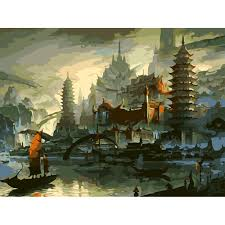 online get cheap wall mural painting kits aliexpress com diy hand painted oil painting by numbers kits landscape heaven palace printing canvas art wall mural