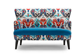 baxton studio lacey paisley ikat loveseat with blue seat
