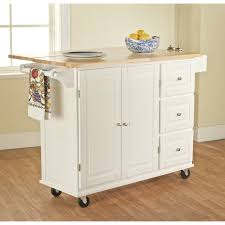tms portable kitchen island with wood top white finish drop leaf