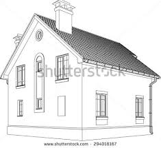 3d two point perspective line drawing stock illustration 80773711