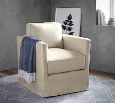 Pottery Barn Armchair Soma Jessie Track Arm Slipcovered Swivel Armchair Polyester