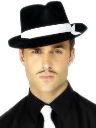 al capone hat black flock 92415 fancy dress ball