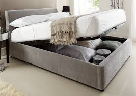 Wooden Ottoman Bed Frame Modern Serenity Upholstered Ottoman Storage Bed Steel Grey Bads