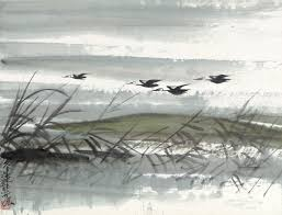 bureau 駘ectrique fengmian 1900 1991 flying geese by the reeds signed