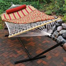 algoma 8913 cotton hammock stand pad and pillow combination
