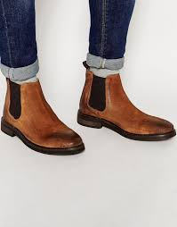 asos chelsea boots in tan suede with chunky sole in brown for men