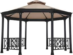 Pop Up Gazebos With Netting by Sunjoy Waverly Octagonal 13 5 Ft W X 12 Ft D Metal Permanent