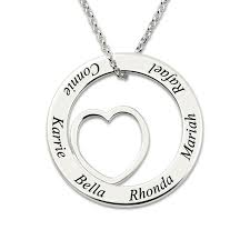 name engraved necklace engraved silver circle necklace white gold color personalized