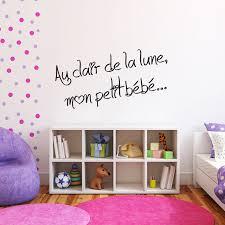 stickers pour chambre bebe sticker phrase pour chambre d enfant au clair de la lune