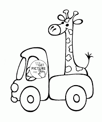 small truck with giraffe coloring page for preschoolers