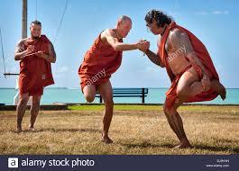 hawaiians demonstrates a traditional hawaiian during