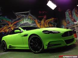 green aston martin mansory aston martin db9 in diamond lime green matt wrap by dartz