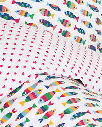 frugi reversible uk cot bed set rainbow fish 120x150 cm